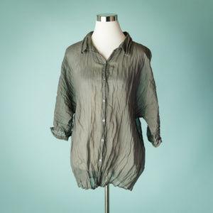 J. Jill XL Gray Crinkle Cotton Metallic Sheer Top
